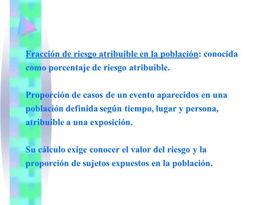 Fracción de riesgo atribuible en la población: conocida como porcentaje de riesgo atribuible.