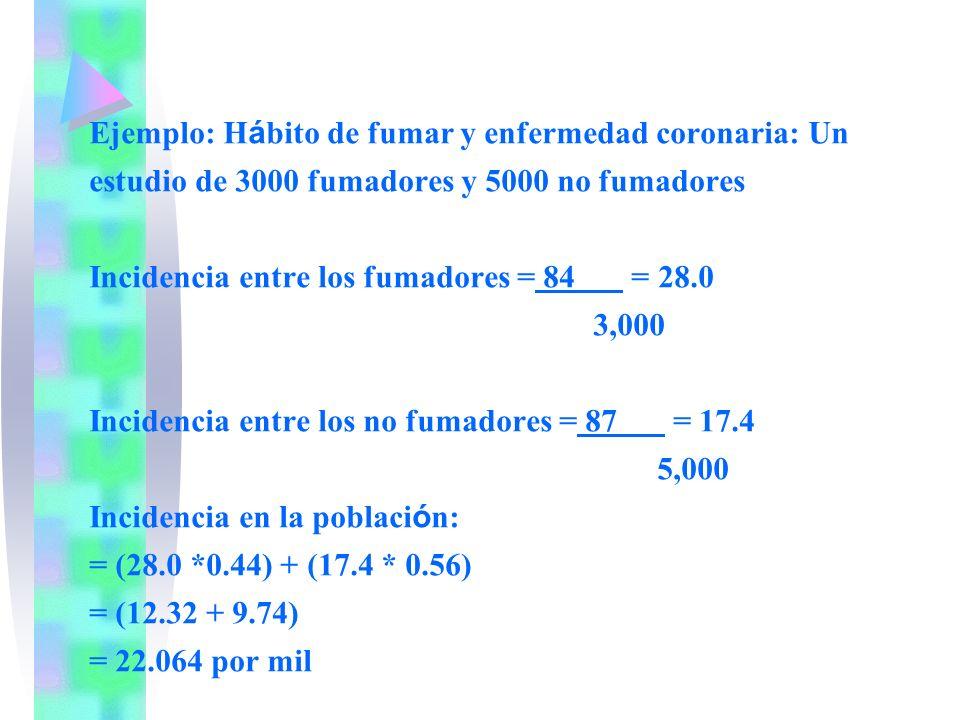 Ejemplo: Hábito de fumar y enfermedad coronaria: Un estudio de 3000 fumadores y 5000 no fumadores Incidencia entre los fumadores = 84 = 28.0 3,000 Incidencia entre los no fumadores = 87 = 17.4 5,000 Incidencia en la población: = (28.0 *0.44) + (17.4 * 0.56) = (12.32 + 9.74) = 22.064 por mil