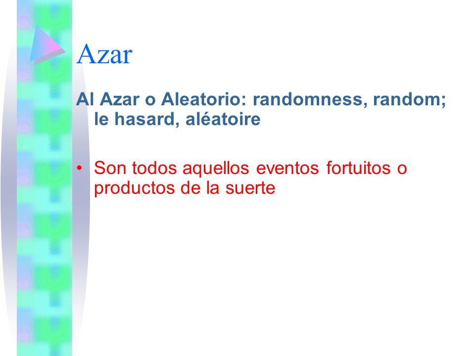 Azar Al Azar o Aleatorio: randomness, random; le hasard, aléatoire