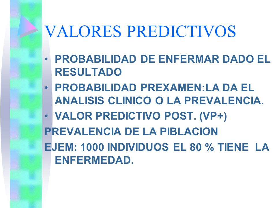 VALORES PREDICTIVOS PROBABILIDAD DE ENFERMAR DADO EL RESULTADO