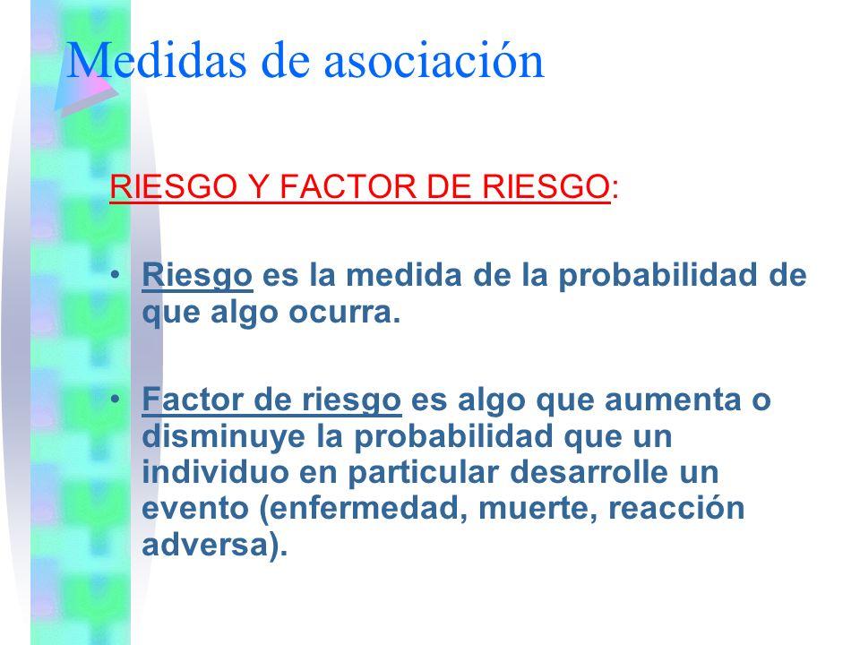 Medidas de asociación RIESGO Y FACTOR DE RIESGO: