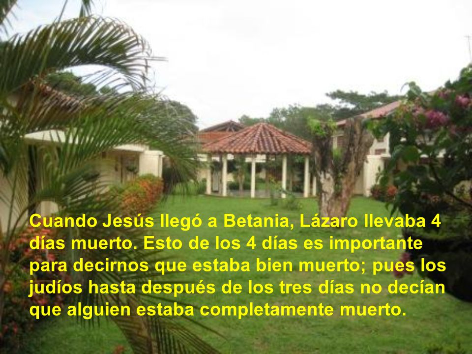 Cuando Jesús llegó a Betania, Lázaro llevaba 4 días muerto