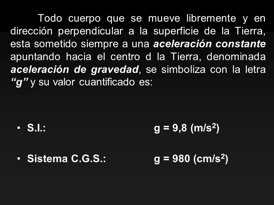 Todo cuerpo que se mueve libremente y en dirección perpendicular a la superficie de la Tierra, esta sometido siempre a una aceleración constante apuntando hacia el centro d la Tierra, denominada aceleración de gravedad, se simboliza con la letra g y su valor cuantificado es:
