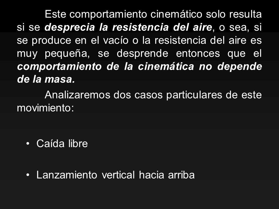 Este comportamiento cinemático solo resulta si se desprecia la resistencia del aire, o sea, si se produce en el vacío o la resistencia del aire es muy pequeña, se desprende entonces que el comportamiento de la cinemática no depende de la masa.