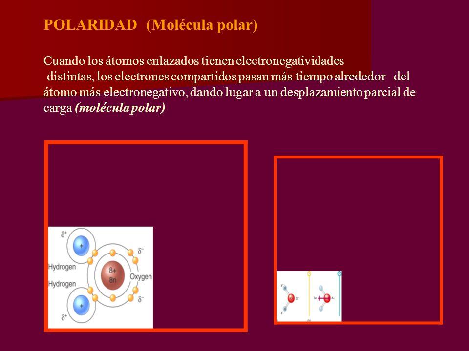 POLARIDAD (Molécula polar) Cuando los átomos enlazados tienen electronegatividades distintas, los electrones compartidos pasan más tiempo alrededor del átomo más electronegativo, dando lugar a un desplazamiento parcial de carga (molécula polar)