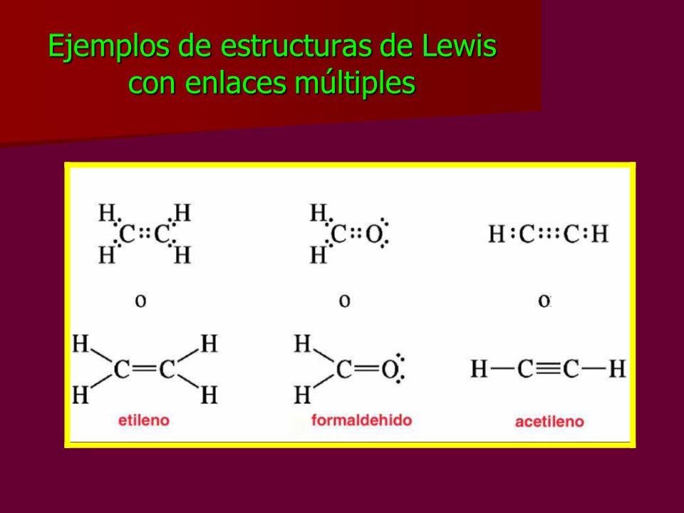 Ejemplos de estructuras de Lewis con enlaces múltiples