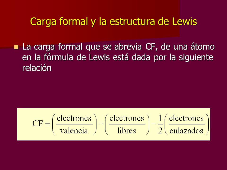 Carga formal y la estructura de Lewis