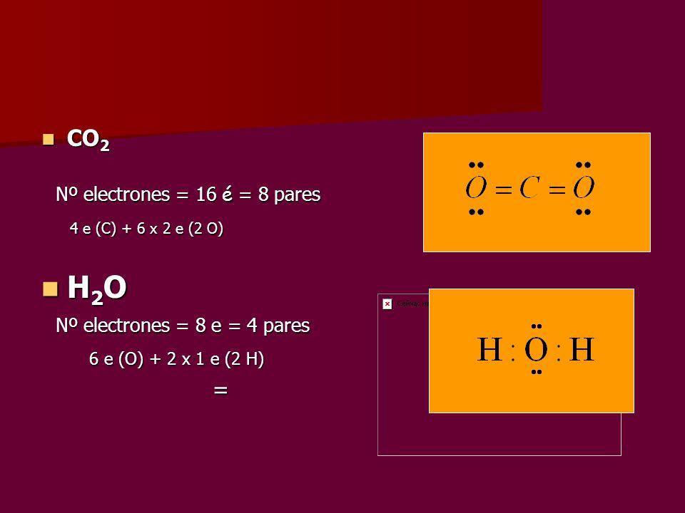 H2O CO2 Nº electrones = 16 é = 8 pares 4 e (C) + 6 x 2 e (2 O)