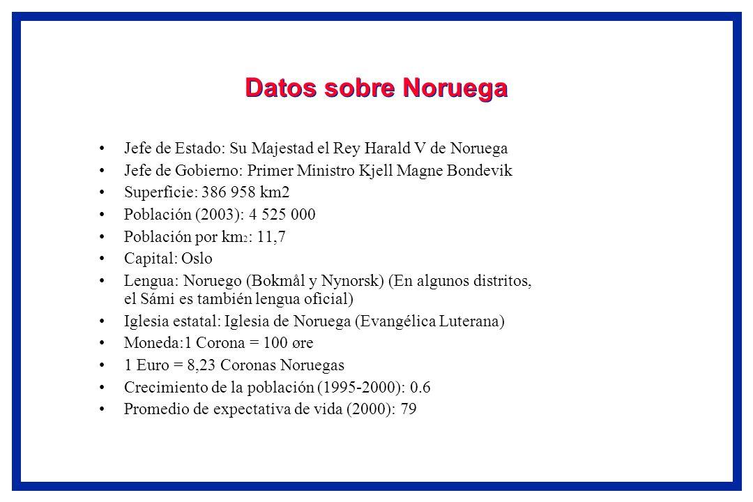 Datos sobre NoruegaJefe de Estado: Su Majestad el Rey Harald V de Noruega. Jefe de Gobierno: Primer Ministro Kjell Magne Bondevik.