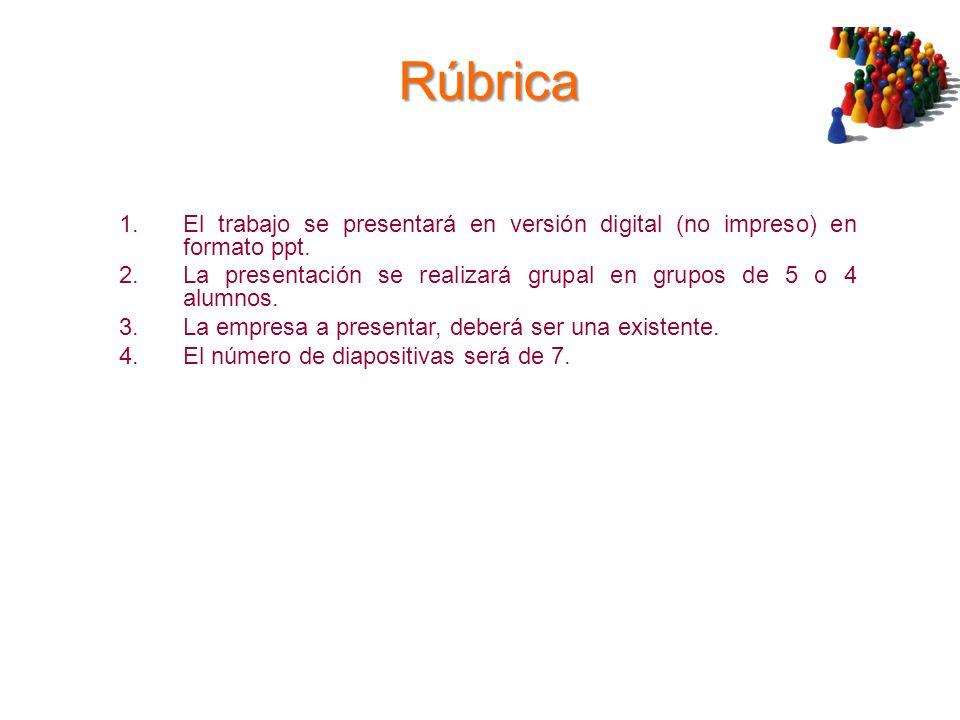 RúbricaEl trabajo se presentará en versión digital (no impreso) en formato ppt. La presentación se realizará grupal en grupos de 5 o 4 alumnos.