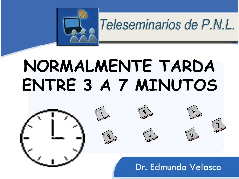 NORMALMENTE TARDA ENTRE 3 A 7 MINUTOS