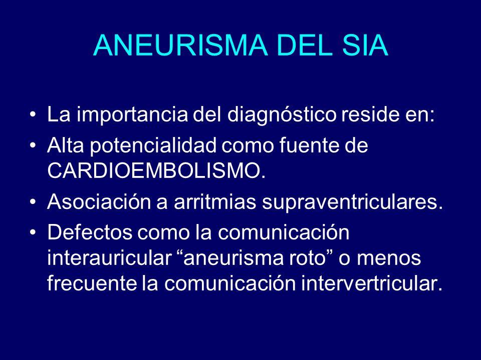ANEURISMA DEL SIA La importancia del diagnóstico reside en: