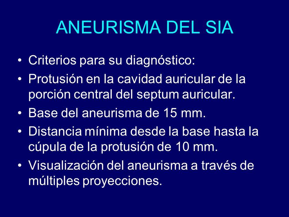 ANEURISMA DEL SIA Criterios para su diagnóstico: