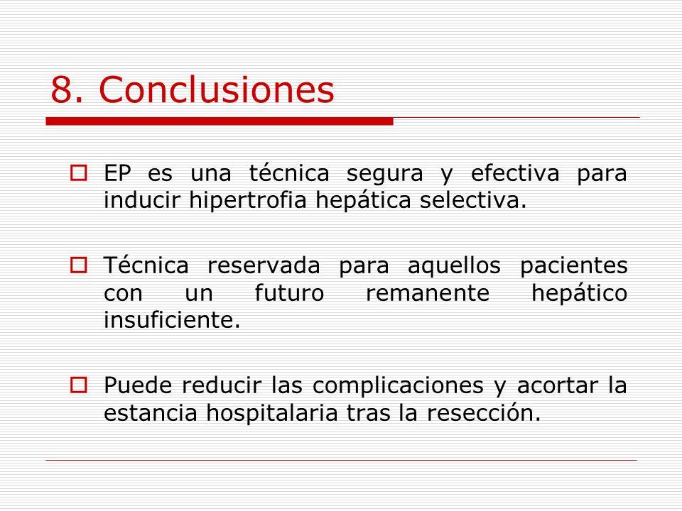8. Conclusiones EP es una técnica segura y efectiva para inducir hipertrofia hepática selectiva.