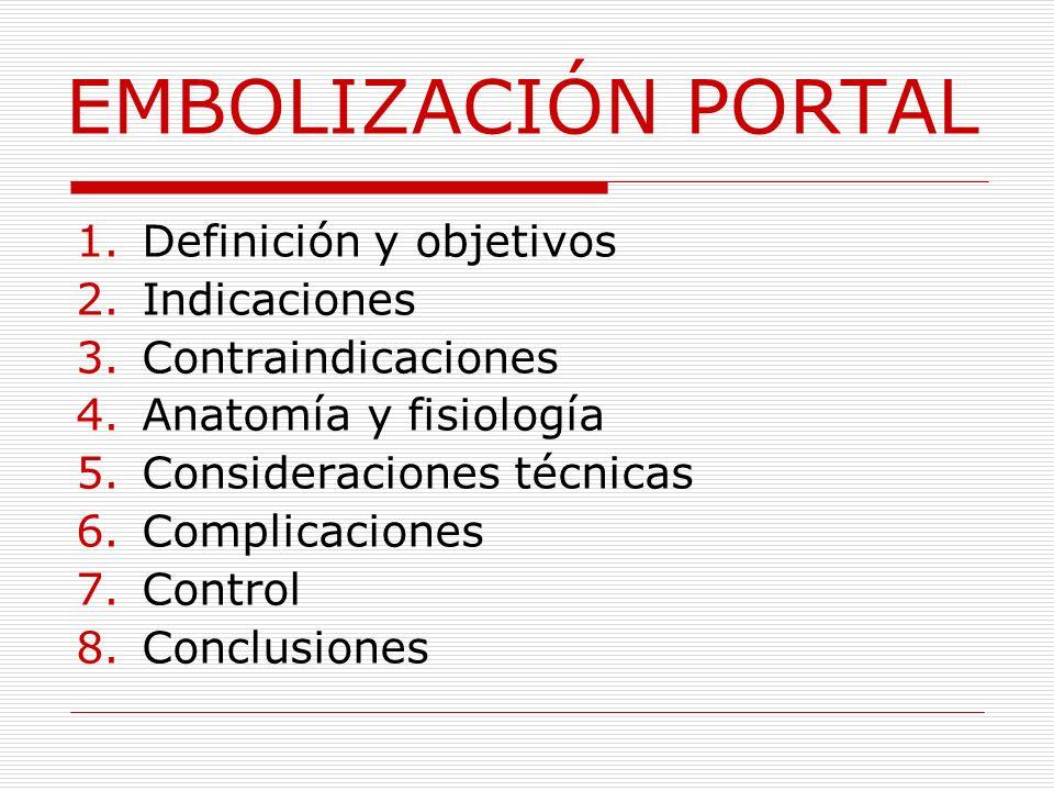 EMBOLIZACIÓN PORTAL Definición y objetivos Indicaciones