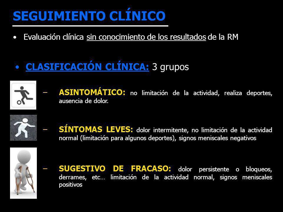 SEGUIMIENTO CLÍNICO CLASIFICACIÓN CLÍNICA: 3 grupos