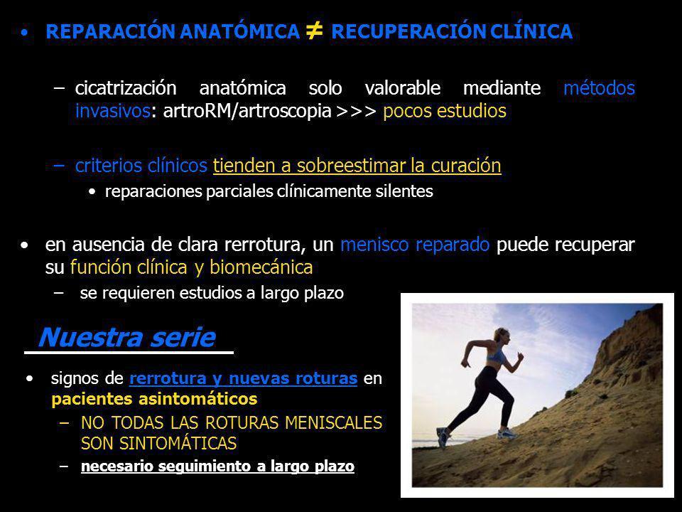 Nuestra serie REPARACIÓN ANATÓMICA ≠ RECUPERACIÓN CLÍNICA