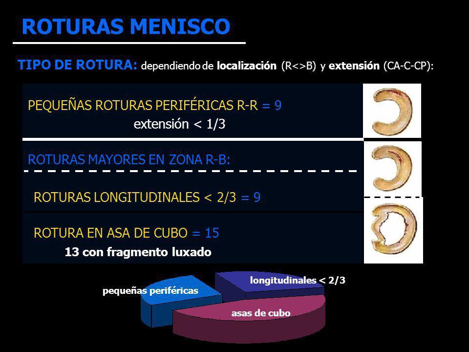 ROTURAS MENISCO TIPO DE ROTURA: dependiendo de localización (R<>B) y extensión (CA-C-CP): PEQUEÑAS ROTURAS PERIFÉRICAS R-R = 9.