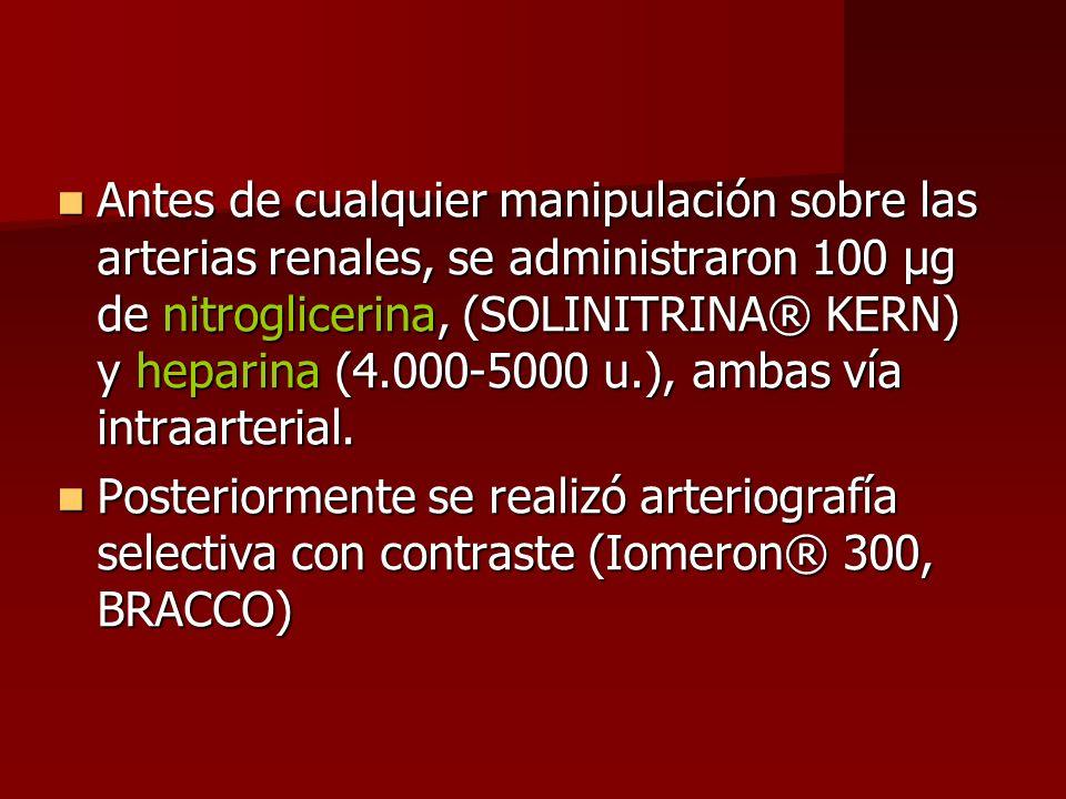 Antes de cualquier manipulación sobre las arterias renales, se administraron 100 µg de nitroglicerina, (SOLINITRINA® KERN) y heparina (4.000-5000 u.), ambas vía intraarterial.