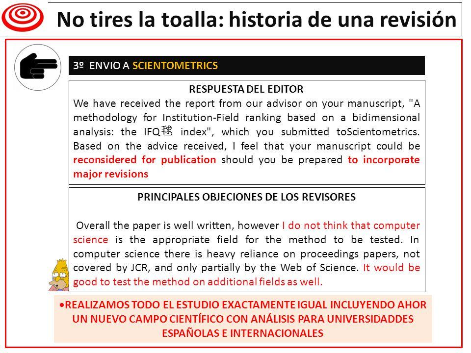 Writing a research paper PRINCIPALES OBJECIONES DE LOS REVISORES