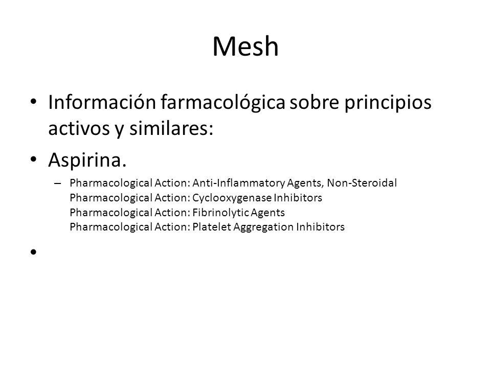 Mesh Información farmacológica sobre principios activos y similares:
