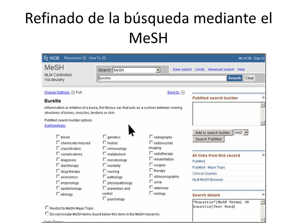 Refinado de la búsqueda mediante el MeSH