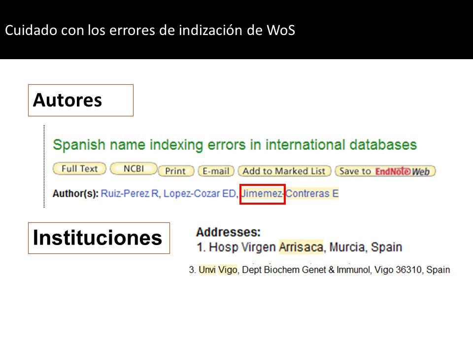 Cuidado con los errores de indización de WoS