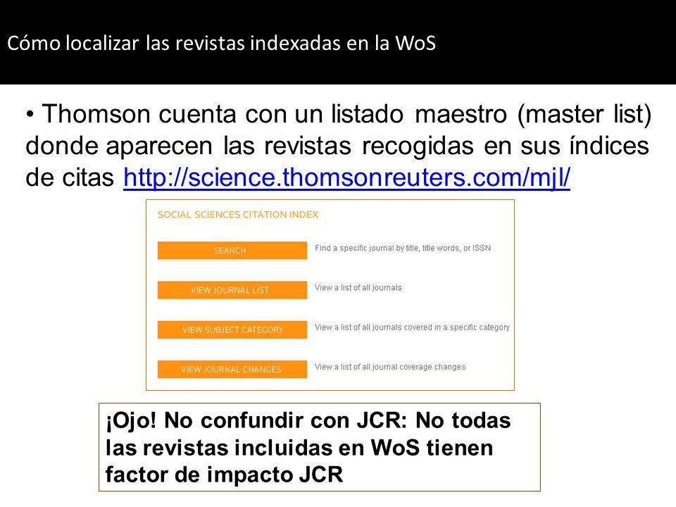 Cómo localizar las revistas indexadas en la WoS