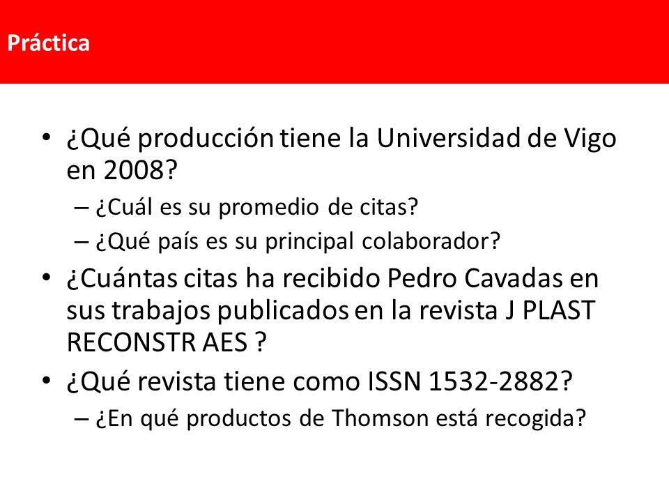 ¿Qué producción tiene la Universidad de Vigo en 2008