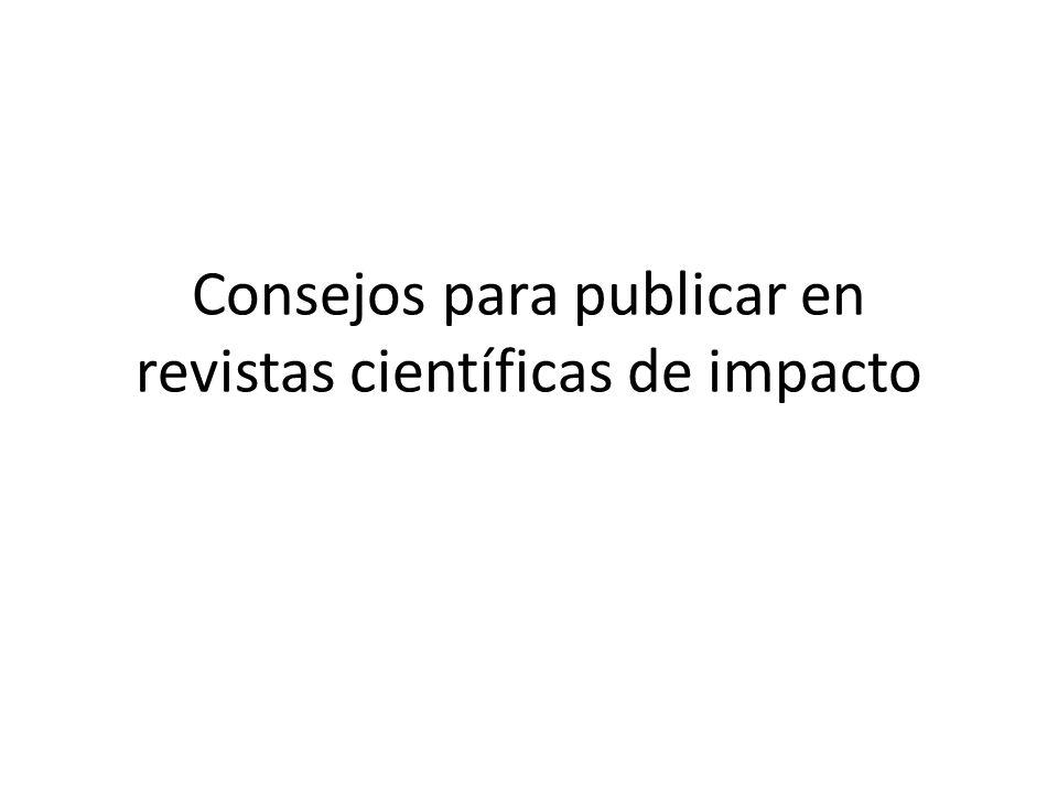 Consejos para publicar en revistas científicas de impacto