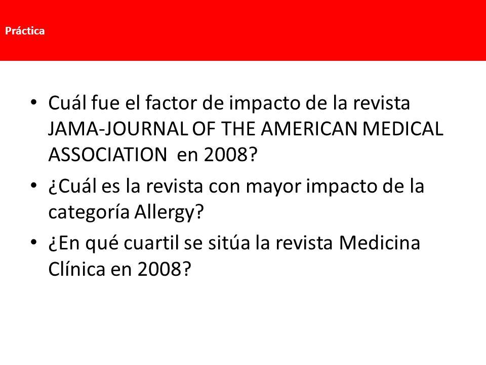 ¿Cuál es la revista con mayor impacto de la categoría Allergy