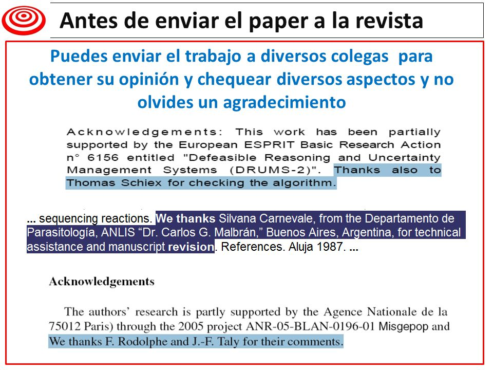 Antes de enviar el paper a la revista Writing a research paper