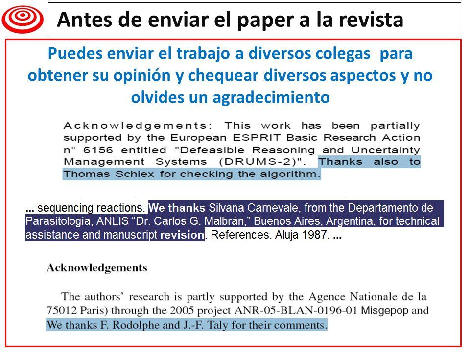 Antes de enviar el paper a la revista Writing a research paper