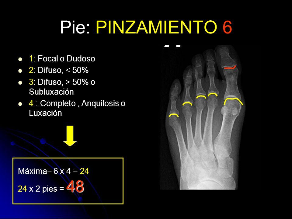 Pie: PINZAMIENTO 6 1: Focal o Dudoso 2: Difuso, < 50%