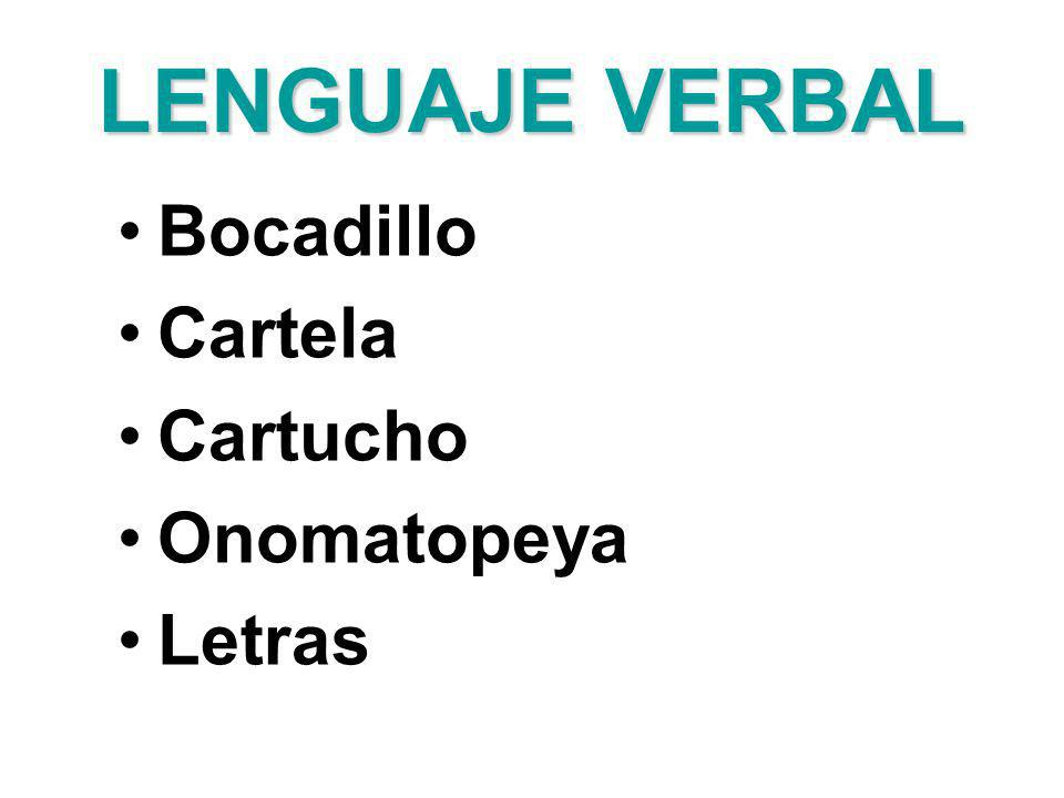 LENGUAJE VERBAL Bocadillo Cartela Cartucho Onomatopeya Letras