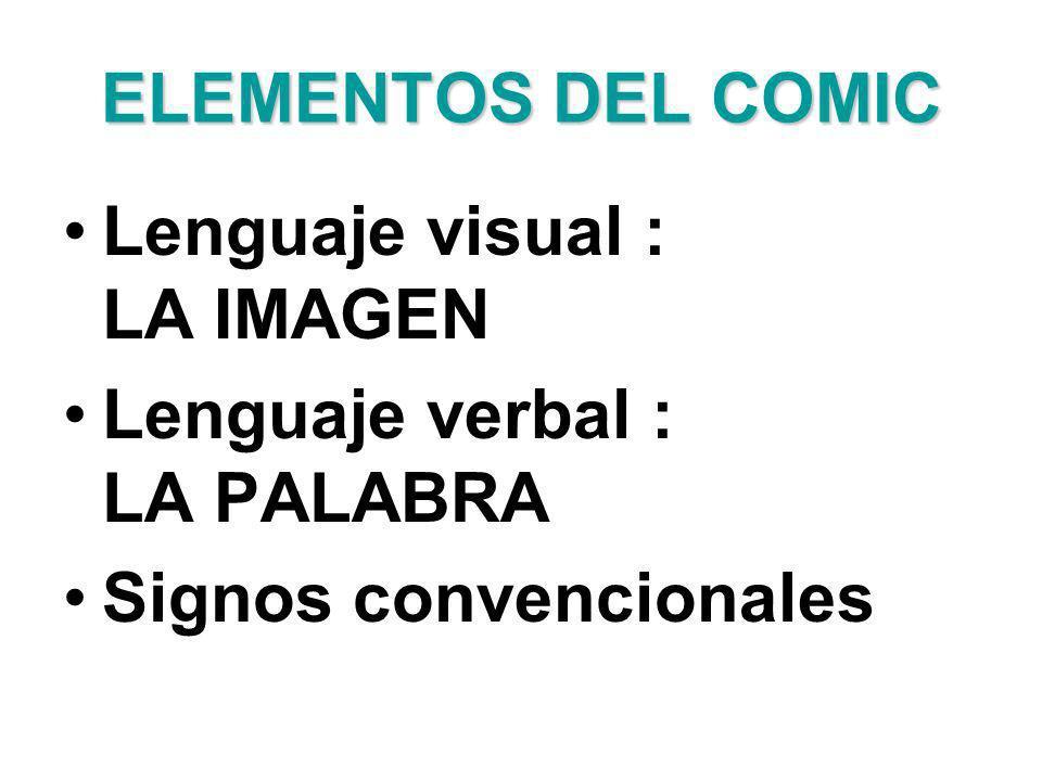 ELEMENTOS DEL COMIC Lenguaje visual : LA IMAGEN. Lenguaje verbal : LA PALABRA.