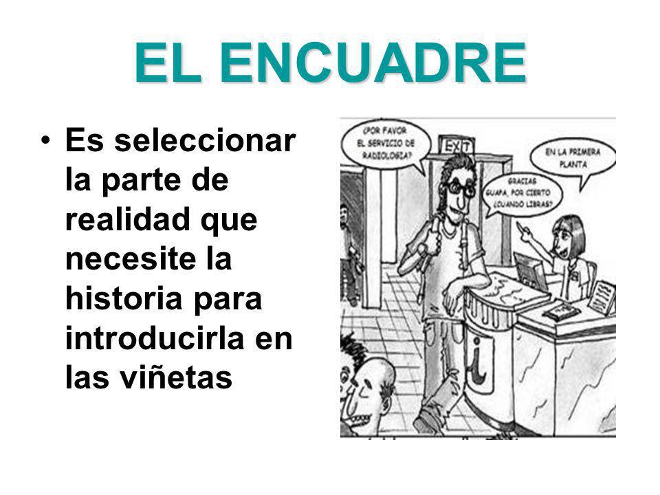 EL ENCUADRE Es seleccionar la parte de realidad que necesite la historia para introducirla en las viñetas.