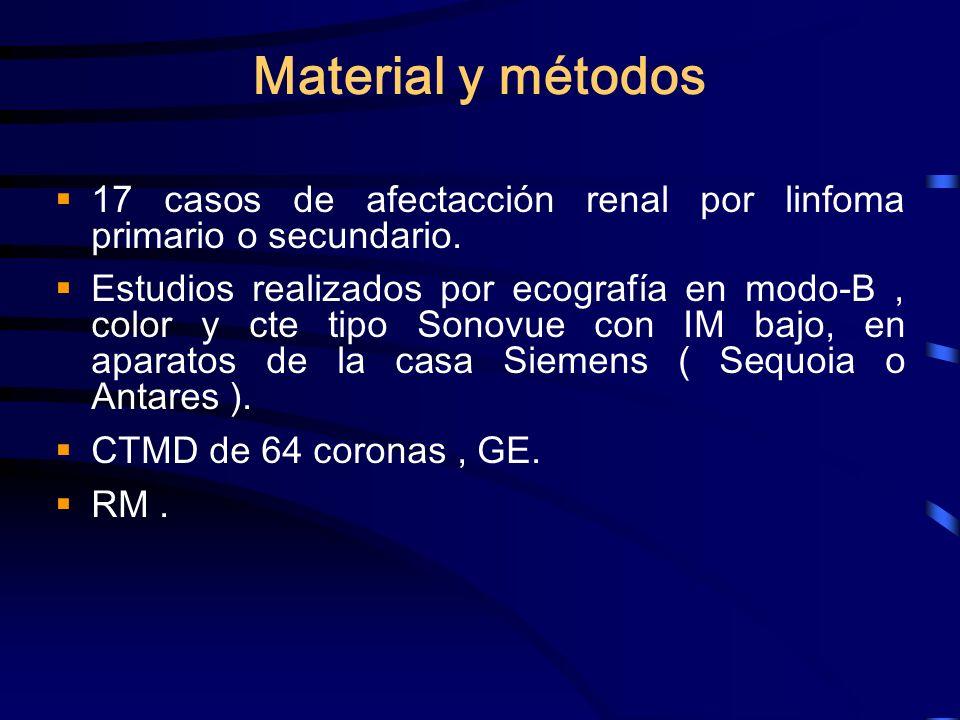 Material y métodos 17 casos de afectacción renal por linfoma primario o secundario.