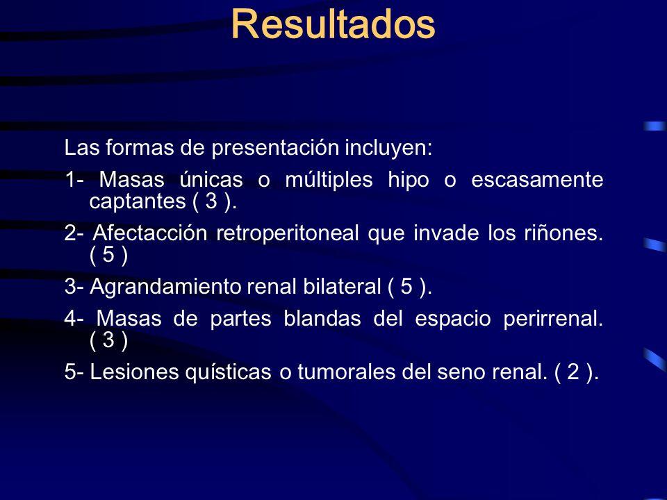 Resultados Las formas de presentación incluyen: