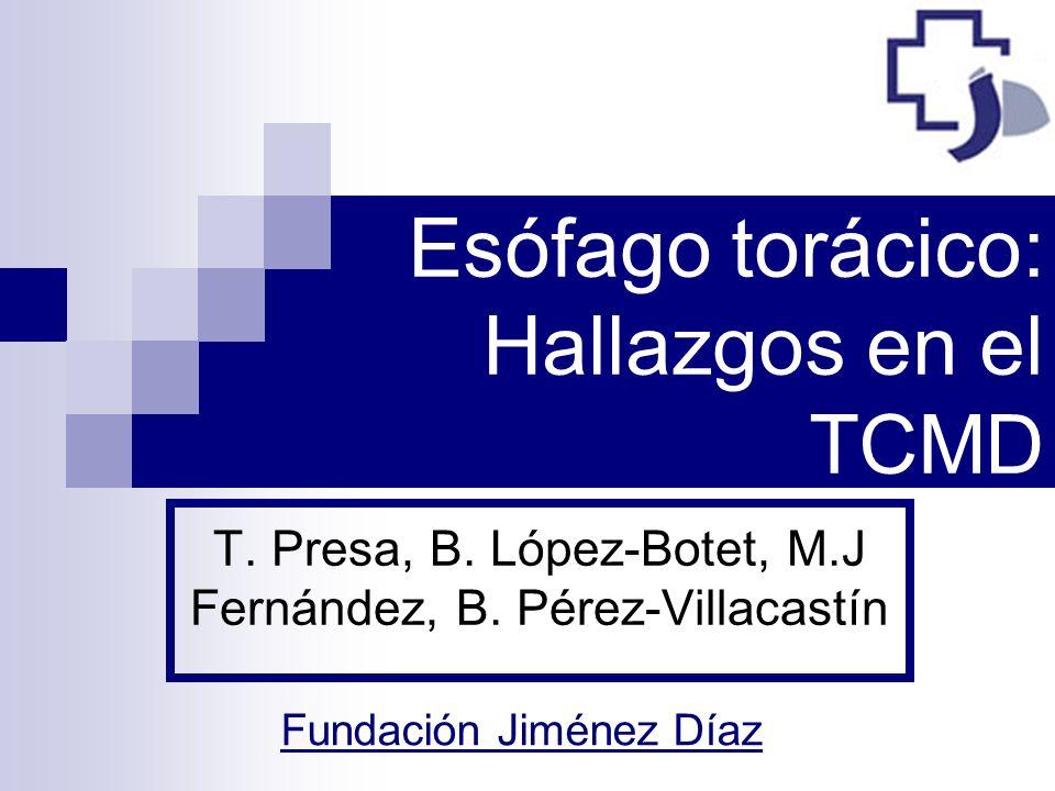 Esófago torácico: Hallazgos en el TCMD