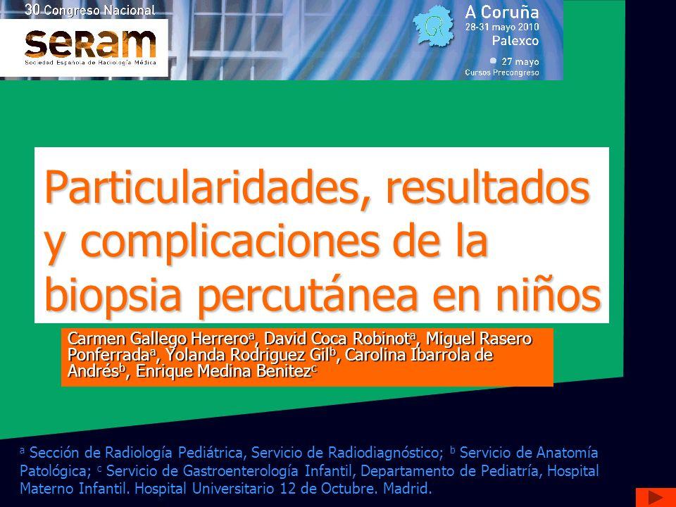 Particularidades, resultados y complicaciones de la biopsia percutánea en niños