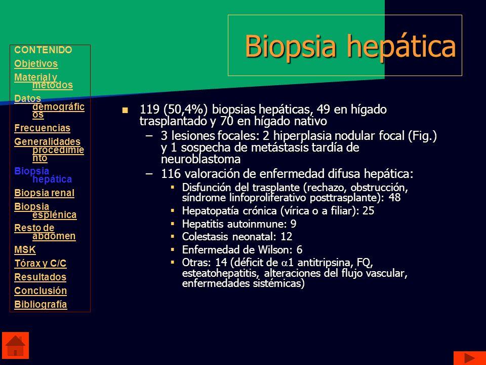 Biopsia hepática CONTENIDO. Objetivos. Material y métodos. Datos demográficos. Frecuencias. Generalidades procedimiento.
