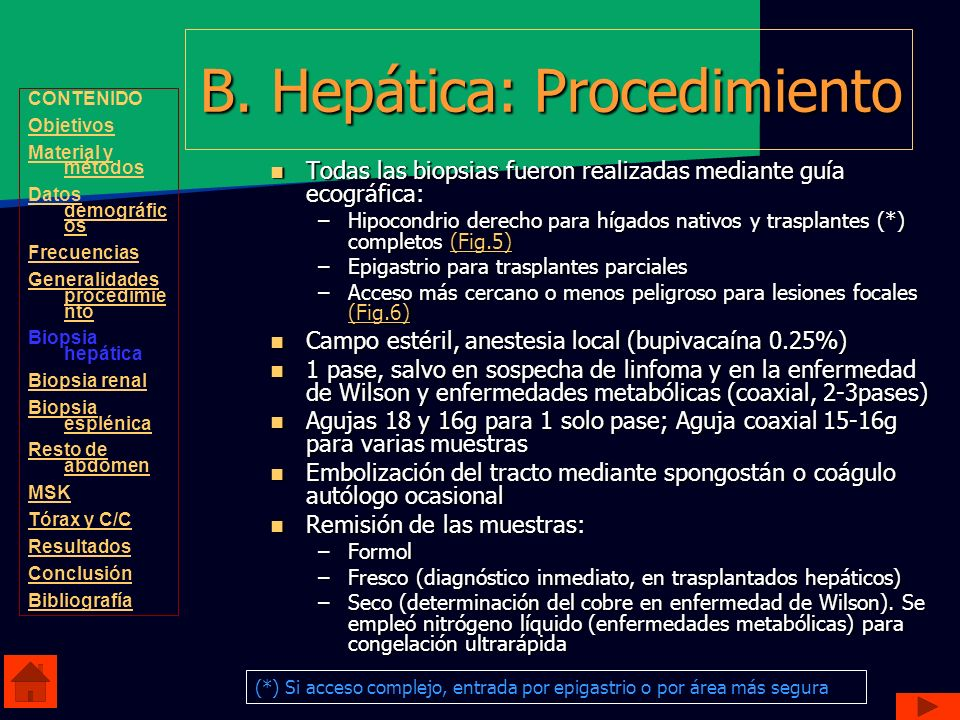 B. Hepática: Procedimiento