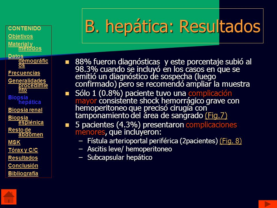 B. hepática: Resultados