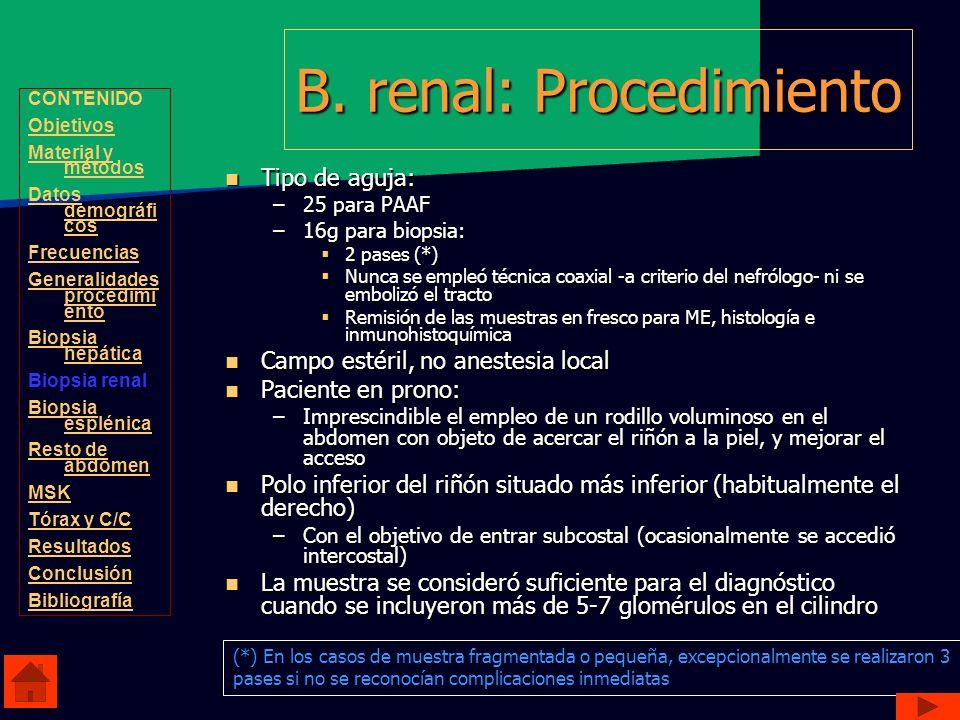 B. renal: Procedimiento