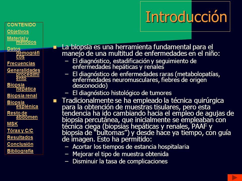 Introducción CONTENIDO. Objetivos. Material y métodos. Datos demográficos. Frecuencias. Generalidades procedimiento.