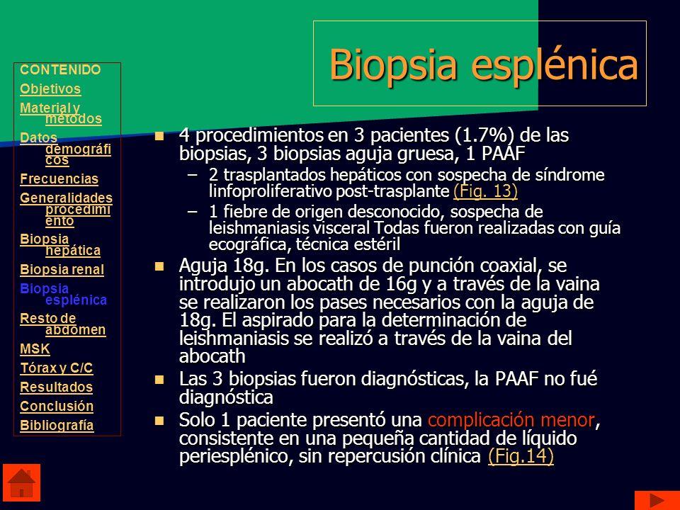 Biopsia esplénica CONTENIDO. Objetivos. Material y métodos. Datos demográficos. Frecuencias. Generalidades procedimiento.