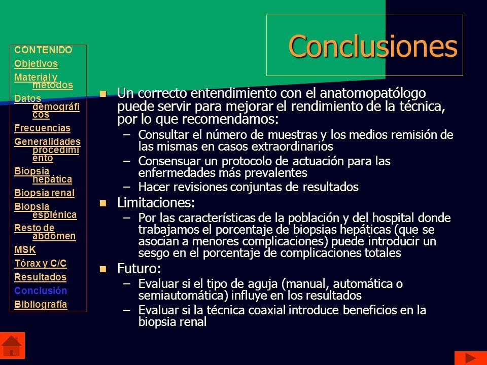 ConclusionesCONTENIDO. Objetivos. Material y métodos. Datos demográficos. Frecuencias. Generalidades procedimiento.