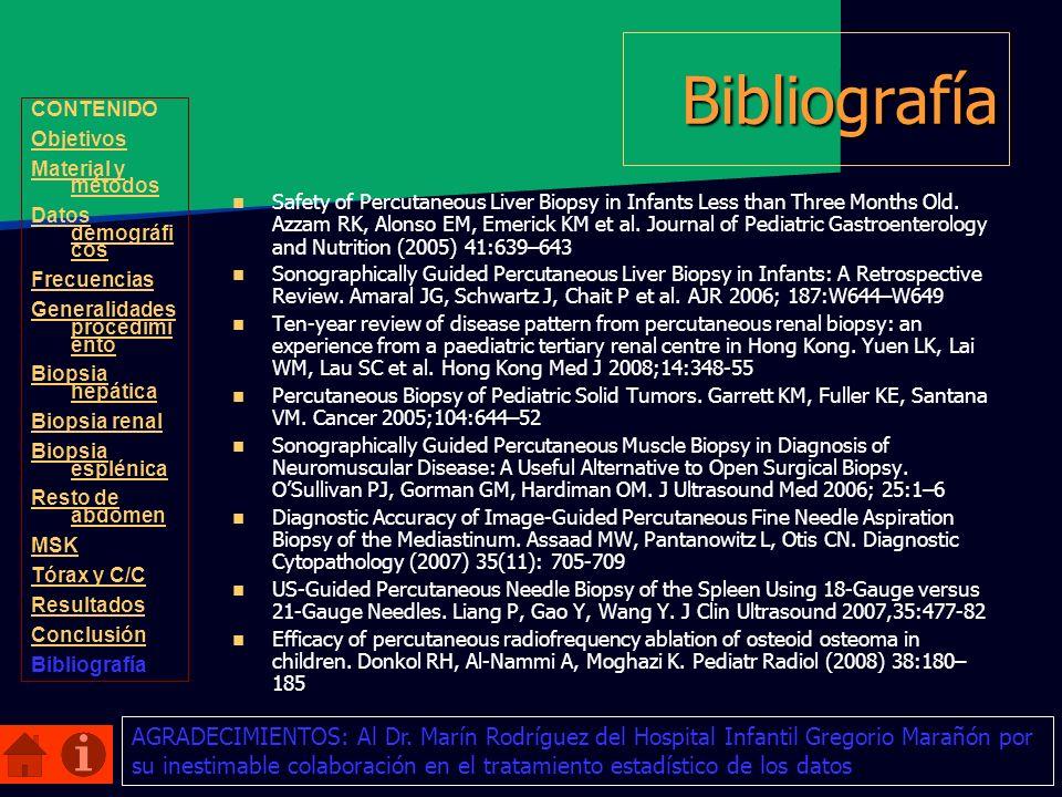Bibliografía CONTENIDO. Objetivos. Material y métodos. Datos demográficos. Frecuencias. Generalidades procedimiento.