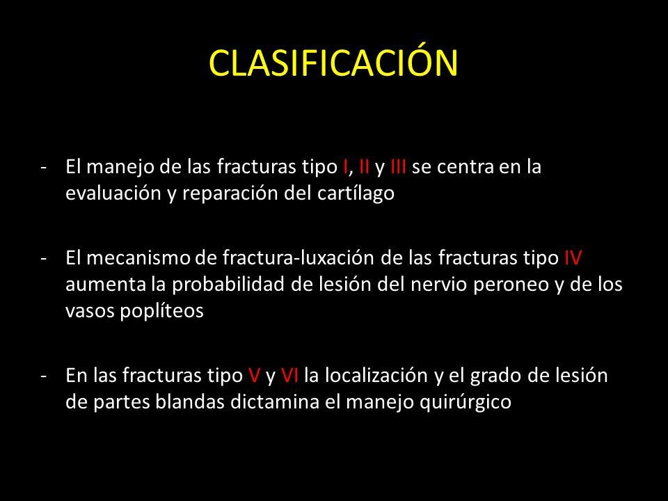 CLASIFICACIÓNEl manejo de las fracturas tipo I, II y III se centra en la evaluación y reparación del cartílago.